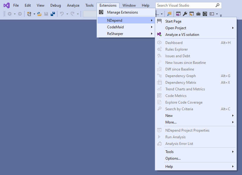 NDepend - Menu dell'estensione in Visual Studio